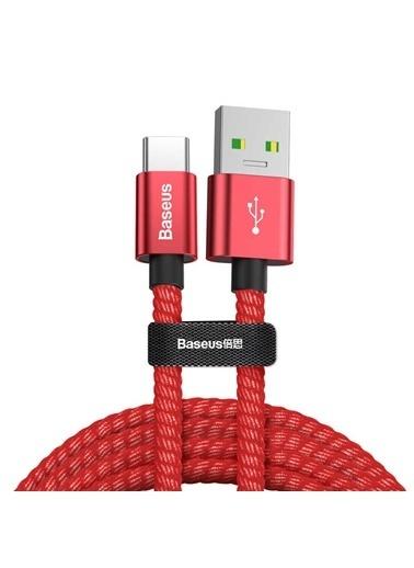 Baseus Double Fast Charger Usb Cable Usb For Type-C 5A 1M - Kırmızı Renkli